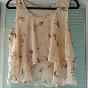 Flowing, airy scooped neck tiered top . BIRD THEME
